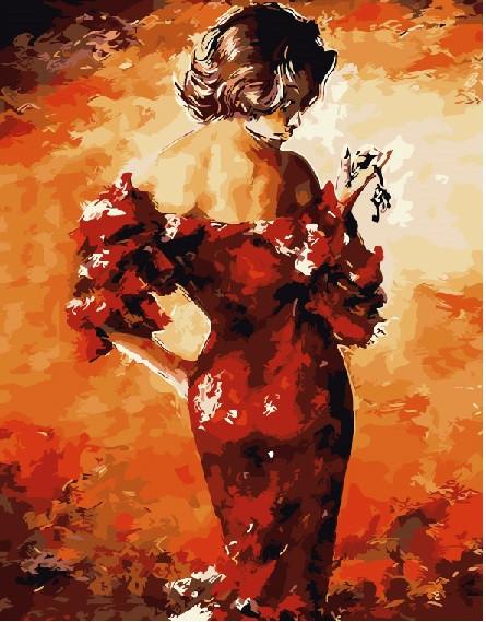 Картина по номерам BRUSHME Леди в красном