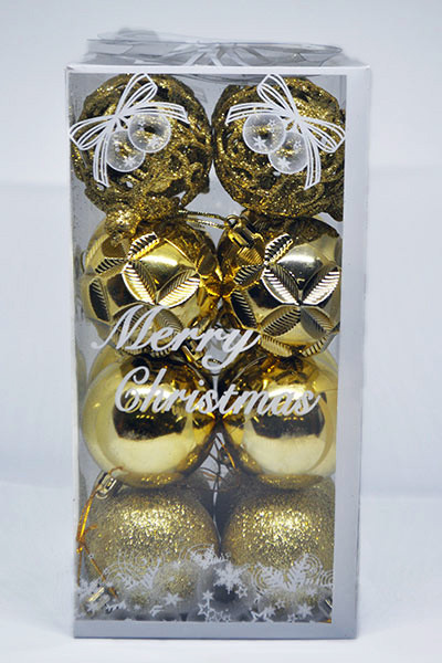 Елочные Игрушки Набор Новогодних Шаров в Коробке 16 шт Диаметр 6 см Золотые