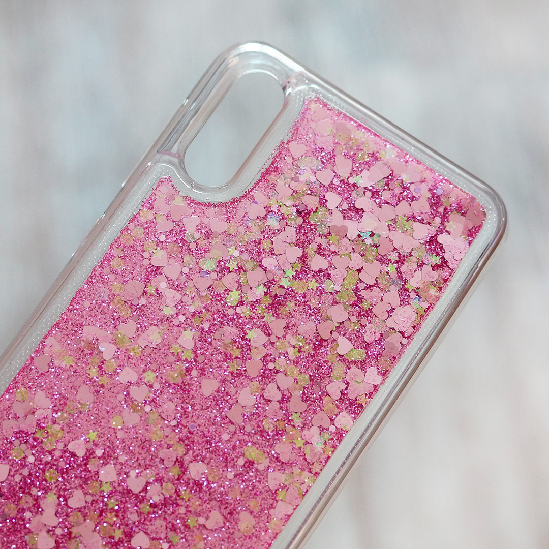 Чехол аквариум с блестками для Samsung Galaxy M10 (SM-M105) (розовые блестки)