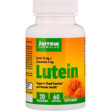 """Лютеин для здоровья глаз, Jarrow Formulas """"Lutein"""" с зеаксантином, 20 мг (60 гелевых капсул)"""