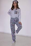 Пижама женская трикотажная с единорогами (Кофта на длинный рукав +штаны+шорты + маска для сна)