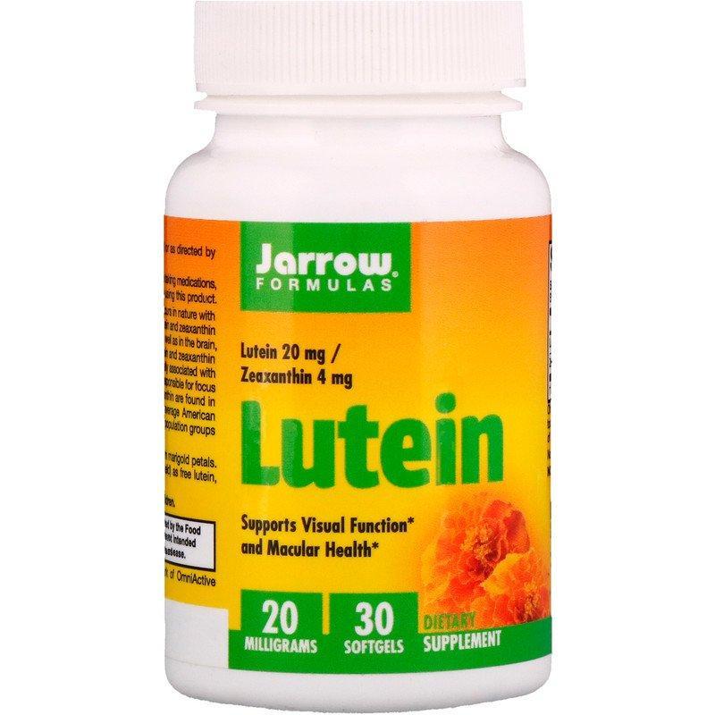 """Лютеин для здоровья глаз Jarrow Formulas """"Lutein"""" с зеаксантином, 20 мг (30 гелевых капсул)"""