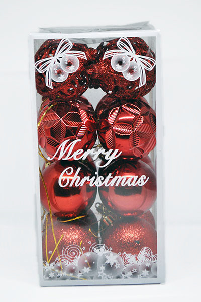 Ялинкові Іграшки Набір Новорічних Куль в Коробці 16 шт, Діаметр 6 см Червоні