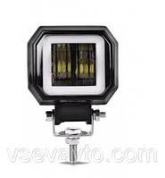 Светодиодная фара ангельские глазки LED квадрат дальний Spot F20W  10-30V 95*73*60mm Корея 3631 (1шт)