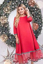 Платье женское снизу украшенное сеткой, красное. Размеры: 50, 52, 54, 56