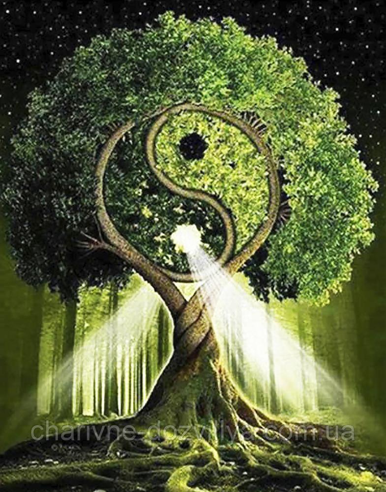 """Набор алмазной вышивки (мозаики) """"Дерево жизни - Инь и Янь"""" (70х55см)"""