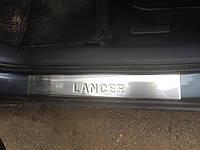 Mitsubishi Lancer X 2008+ гг. Накладки на пороги (OMSA, 4 шт, нерж)