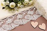 Кружево с вышивкой шёлковой нитью кремового цвета, ширина 8 см., фото 2