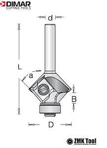 Фреза DIMAR для снятия фаски a=45/r=2/3 D27.3 B6.7 L57 d=8 сменные ножи