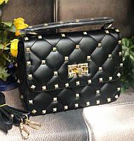 Женская стеганная сумка в стиле Vаlеntіnо (Валентино), черная, ЛЮКС ( код: KB992,3 )
