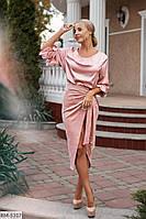 Стильная замшевая юбка на запах ниже колен