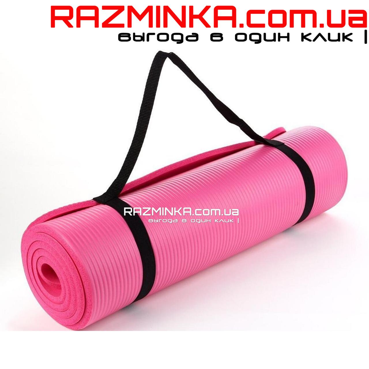 Каучуковый коврик для фитнеса NBR 1800х600х12мм, розовый