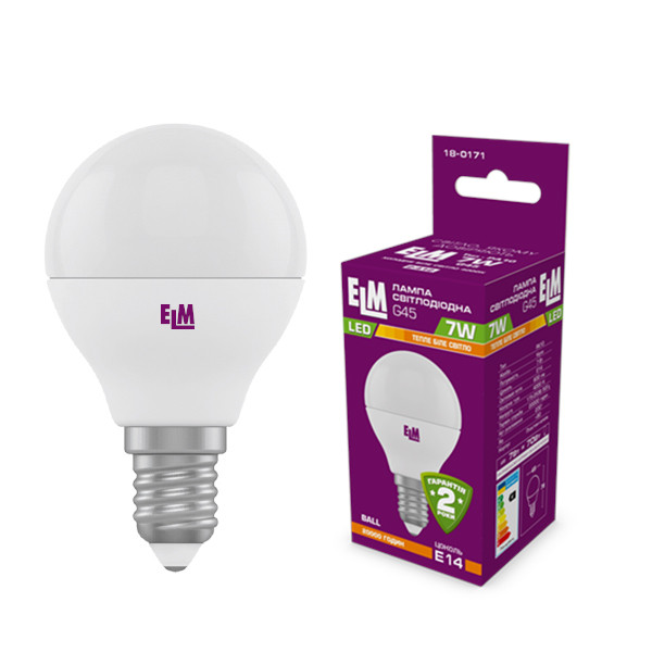 Лампа светодиодная ELM, G45, 7W, PA10, Е14 холодный