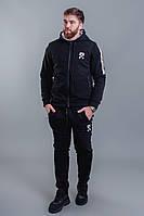 Мужской зимний теплый спортивный костюм на молнии трехнитка черный 46 48 50 52, фото 1
