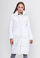 Женская удлиненная зимняя куртка на пуговицах с накладными карманами по бокам SFN 42, 44, 46, 48 р.р.