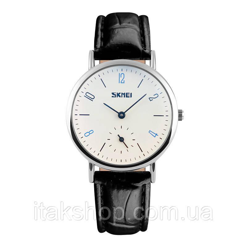 Женские классические часы Skmei 9120  Black white ledi
