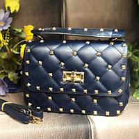 Женская стеганная сумка в стиле Vаlеntіnо (Валентино), синяя, ЛЮКС ( код: KB992,2 )