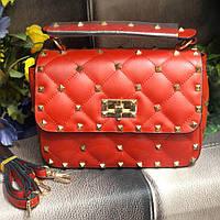 Женская стеганная сумка в стиле Vаlеntіnо (Валентино), красная, ЛЮКС ( код: KB992,1 )