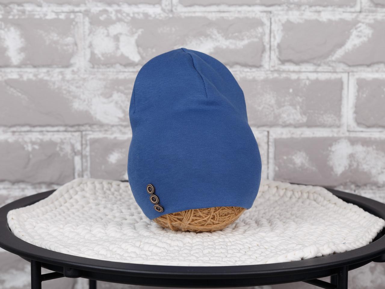Шапочка с пуговками, синяя