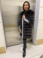 Женская шуба. Натуральный песец. Размеры 42-56. Цвет: серый