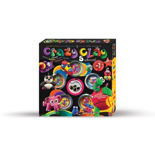 Пластилин CRAZY CLAY средний CRC-01, развивающая игрушка, подарок ребенку