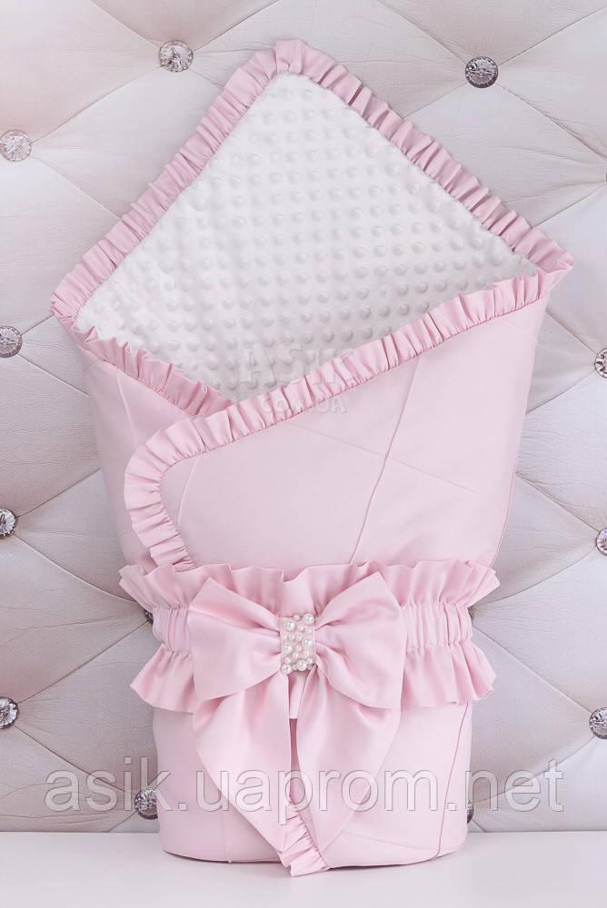 Конверт для выписки из роддома 100*80 бело-розового цвета с декоративной строчкой и бантом