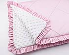 Конверт для выписки из роддома 100*80 бело-розового цвета с декоративной строчкой и бантом, фото 3