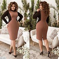 Батальное двухцветное облегающее платье сзади на декоративной молнии арт 158