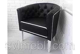 Кресло Доминика экокожа черный/кант белый ножки белые