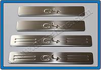 Citroen C-4 2005-2010 гг. Накладки на дверные пороги (4 шт., нерж.)
