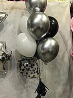 Фонтан из 8 шаров Серебро с черным и белым