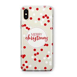 """Дизайнерский пластиковый новогодний чехол для iPhone X/ XS /Xr /XS Max, с надписью """"Merry Christmas"""""""