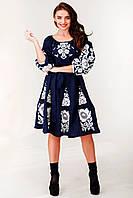 Женское вышитое платье темного синего цвета с пышной юбкой «Белые розы», фото 1