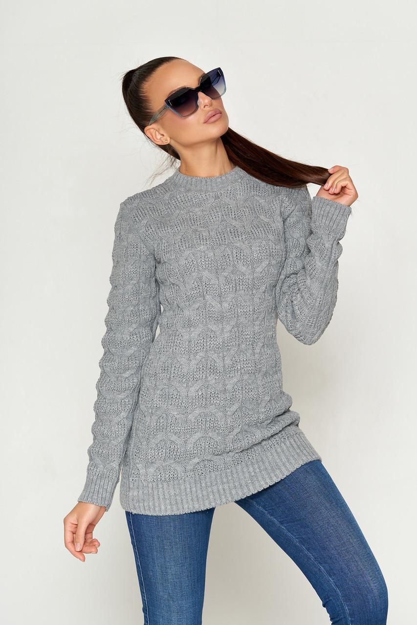 Женский свитер в мелкие косички 42-44 (в расцветках)