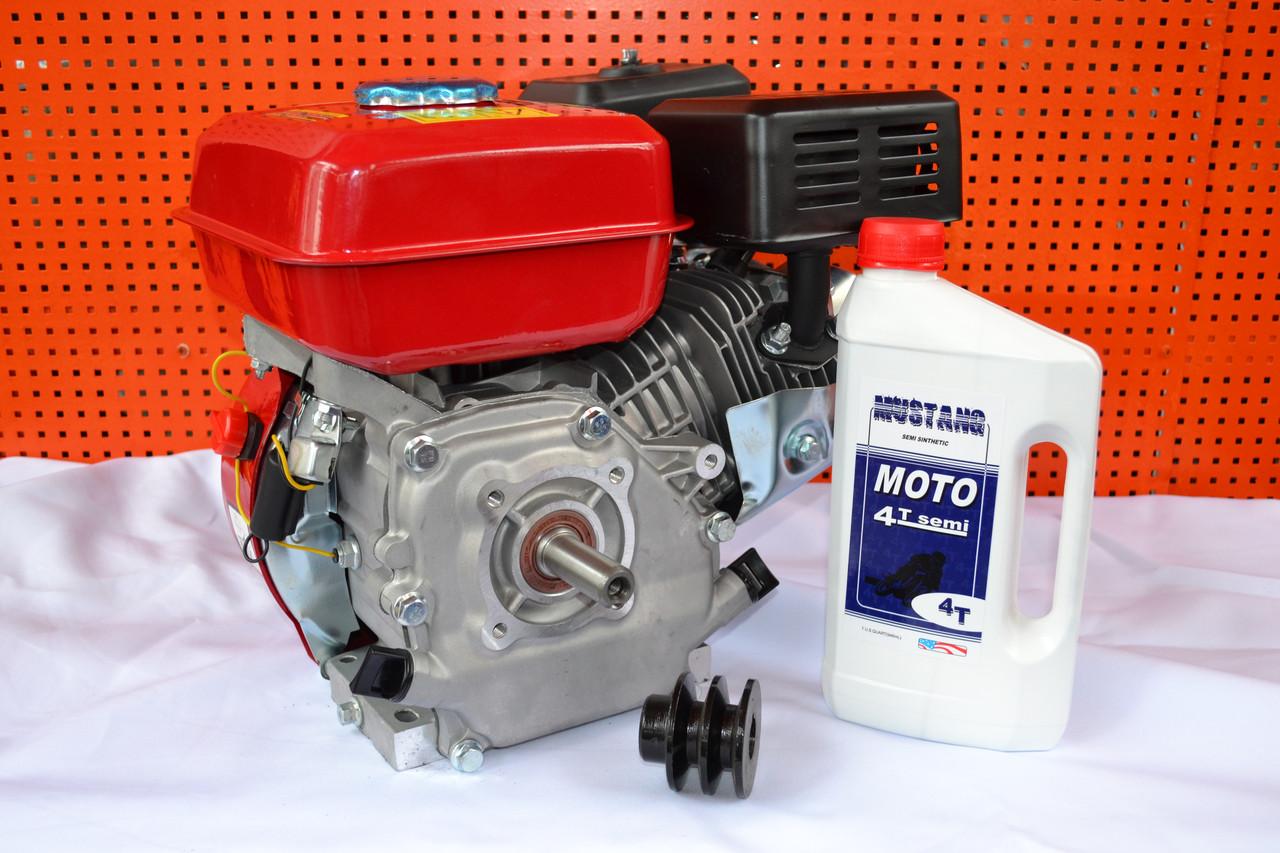 Двигатель бензиновый 168F 7 л.с вал 19 мм шпонка + шкив 2-х ручейковый профиль А + Масло 1л