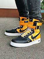 Мужские кроссовки желто-черные Nike SF Air Force