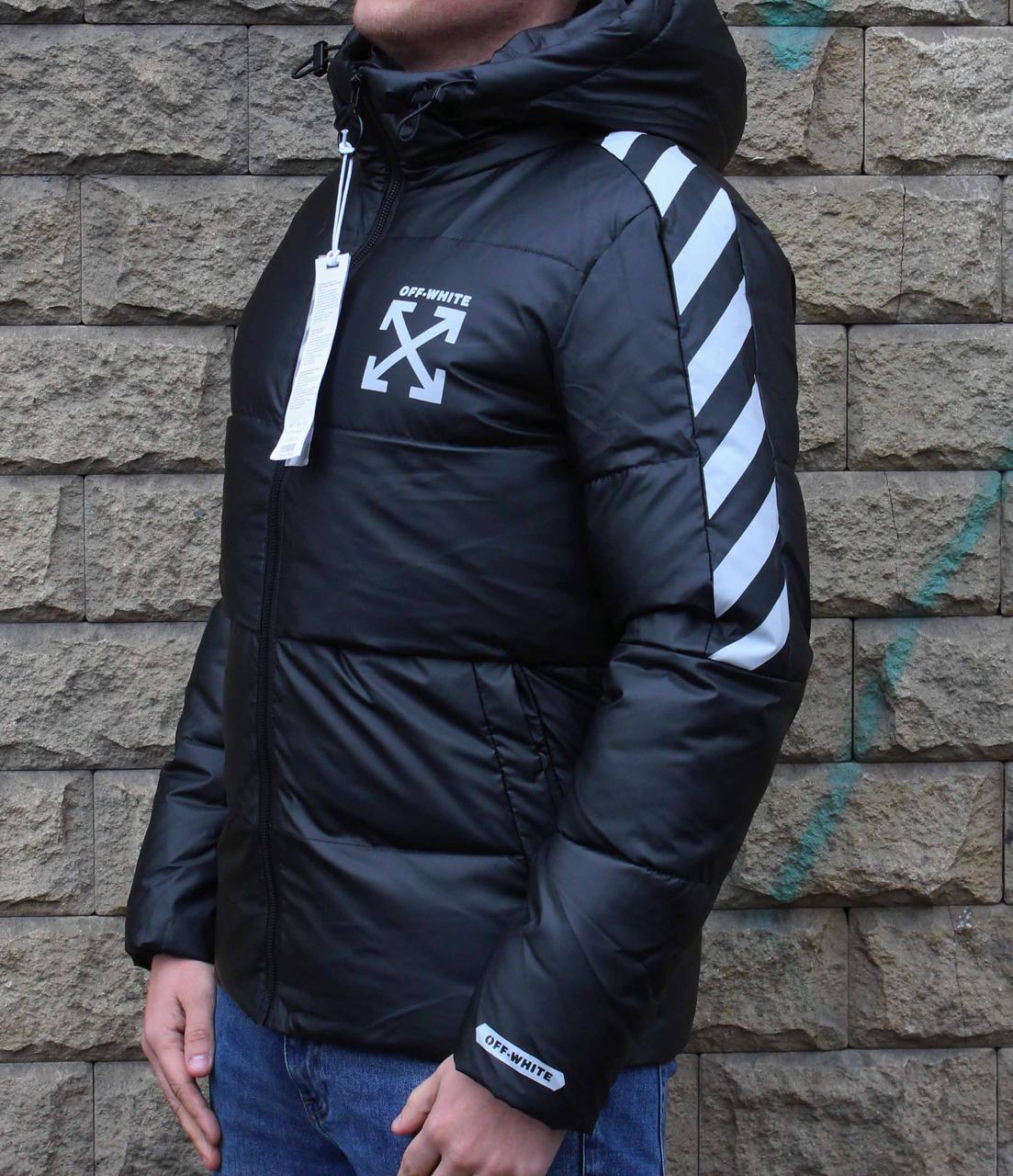 Зимняя короткая черная куртка в стиле Off-White 52 размер