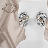 """Серьги серебряные с золотыми пластинами """"324"""", фото 1"""