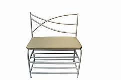 Банкетка металлическая со спинкой 60 смкаркас белый сиденье экокожа