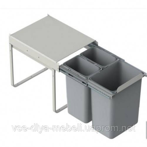 Ведро для мусора JC 606 L-450mm (414*500*435) без кр/фасадДОВОД (1х20+2х9) серое WE.14.1535.05.549