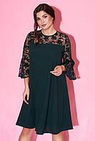 Вечернее платье А-силуэта с расклешенными рукавами из сетки темно-зеленого цвета. Модель 23276 Размеры 50-64