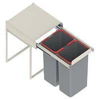 Ведро для мусора JC 607 L-450mm (414*500*325) низкое с ,ДОВОД (2х15л) серое WE14.1533.05.549