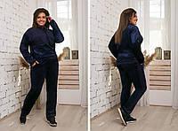 Стильный теплый велюровый женский батальный спортивный костюм  (48-54) с ангоровыми вставками. Арт-2485/15