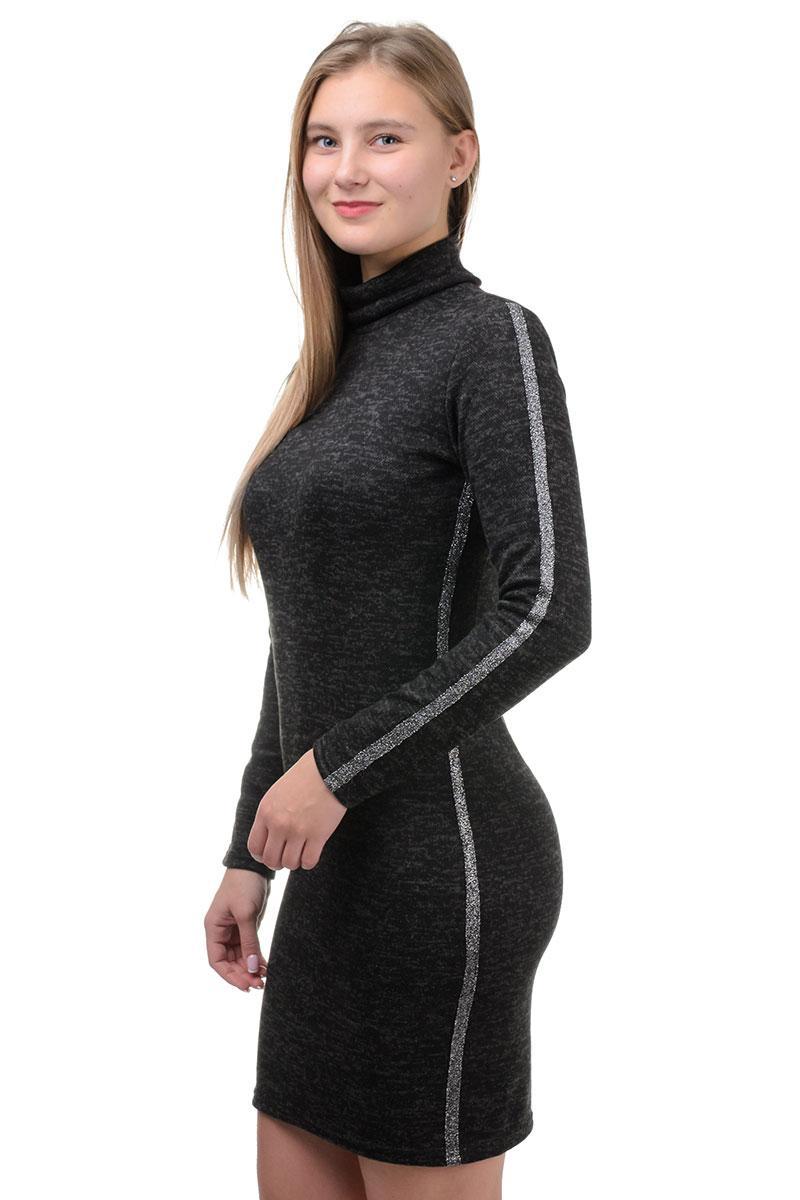 Приталинное платье-гольф с лампасом черное