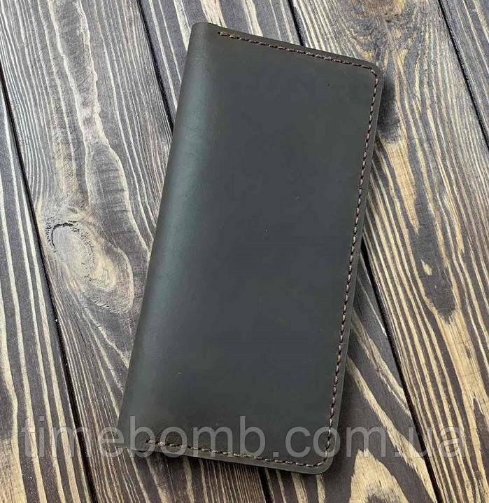Мужской кошелек из натуральной кожи Besane Classic темно коричневый