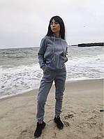 Женский спортивный костюм на флисе серый чёрный бежевый