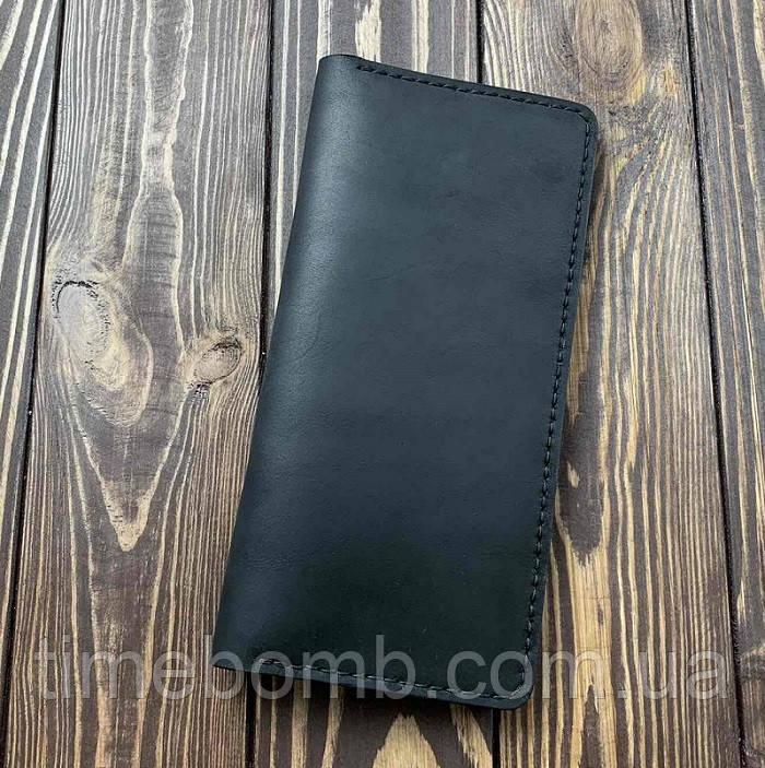 Мужской кошелек из натуральной кожи Besane Classic черный