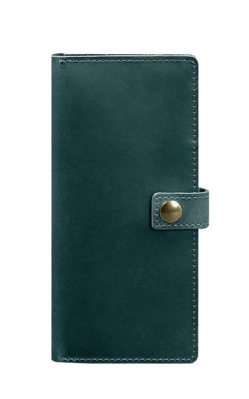 Кошелек на кнопке кожаный зеленый BN-TK-6-iz