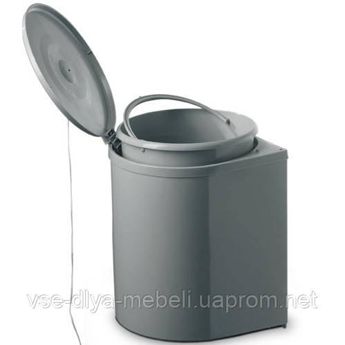 Ведро для мусора пластик серый с крепп.к фасаду (97N INOXA)(Е.)
