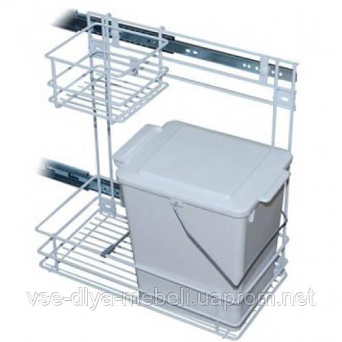 Ведро для мусора с боковым креплением с выдвижным механизмом, белое REJS (WE22.0110.05.013)(Е.)